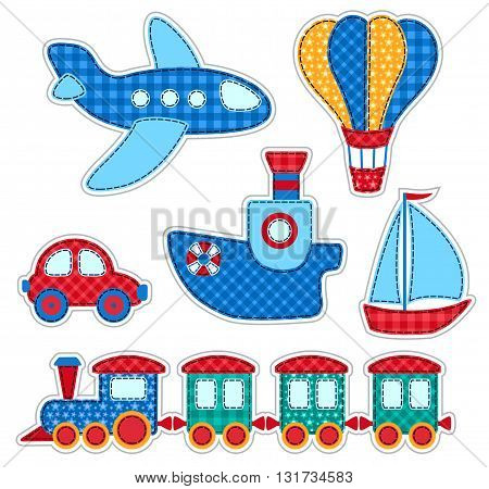 Set of stickers with patchwork transport. Vector illustration for children. Isolated on white.