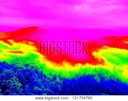 Deep Valley Full Of Heavy Autumn Fog  In Infrared Photo.