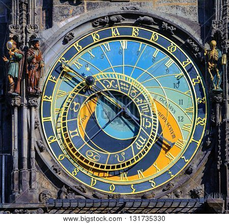 The Astronomic Clock Horologe In Prague, Czech Republic