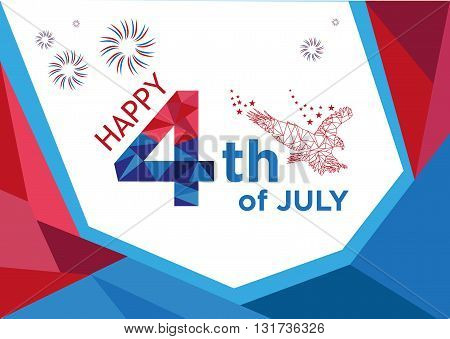 Happy 4th of July Low Poly art style. Editable Clip Art.