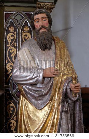 SVETI MARTIN POD OKICEM, CROATIA - SEPTEMBER 16: Statue of Apostle saint Paul on the altar of the Virgin Mary in the church of Saint Martin in Sv. Martin pod Okicem, Croatia on September 16, 2015.