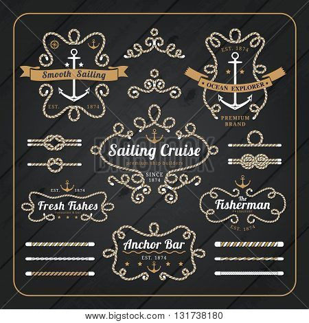 Vintage nautical rope frame labels set on dark wood background with rope brushes