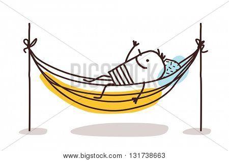 cartoon man having a rest in a hammock