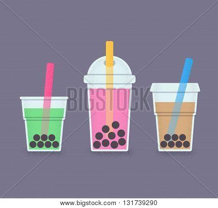 Bubble Tea milk cocktail with tapioca pearls. Set of drink glasses with straws. Retro style vector illustration of bubble tea or milkshake.