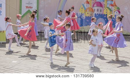 Rostov-on-Don Russia- May 222016: Performance talented girls dance ensemble on the stage of the V. Cherevichkin Park