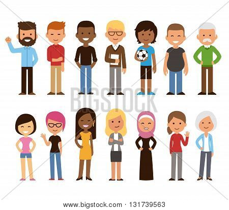 Diverse set of cartoon people. Men and women of all ages and lifestyles. Cute geometric flat style.