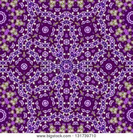 Abstract geometric seamless background. Ornate floral ornament in purple shades with bright green and beige elements.