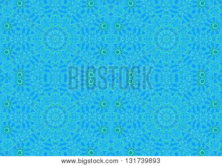 Abstract geometric seamless background. Regular concentric circles pattern light blue and azure with floral elements in mint green.