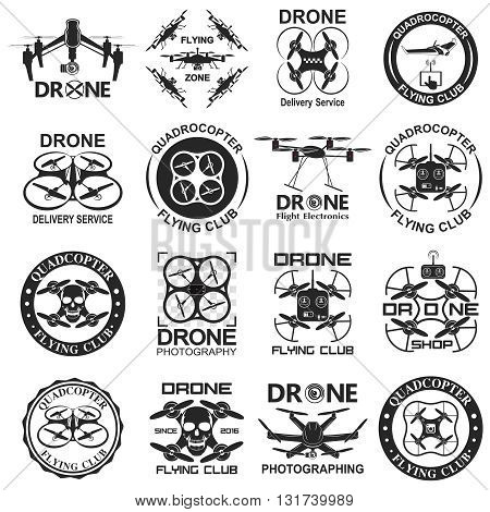 Set of aerial drone footage emblems. Vector Illustration