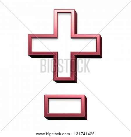 Hyphen, minus, plus marks from white with red shiny frame alphabet set, isolated on white. 3D illustration.