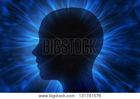 Illustration of human head with energy beams