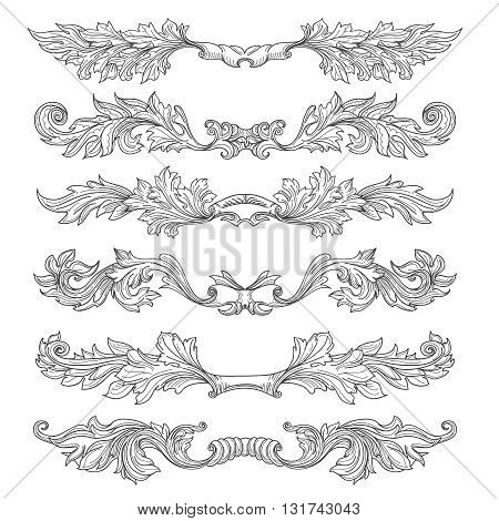 Hand drawn vintage page dividers with decorative floral swirls and scrolls. Divider retro element, floral dividers page, scroll dividers decoration, vector illustration