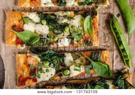 Pizza With Spinach And Mozzarella