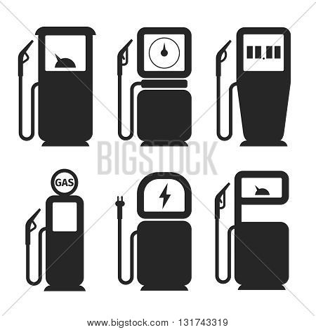 Gas pump and fuel pump vector icons set. Fuel and gas pump, gasoline pump, petrol and diesel pump, station electricity illustration