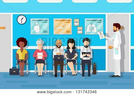 Patients in doctors waiting room. Patient and doctor, patient in hospital, office interior clinic, waiting patient. Vector illustration
