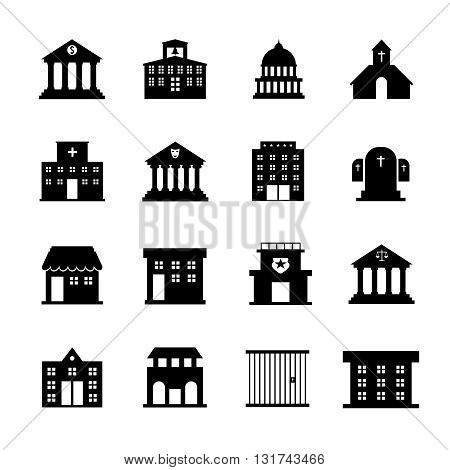 Government and public building vector icons. Government building, architecture government structure, construction government court illustration