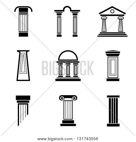 Column black vector icons. Column architecture, greek column, ancient column roman, antique classical pillar illustration