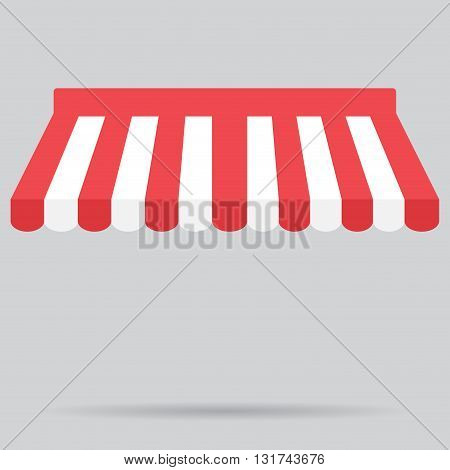 Canopy awning striped store element design. Canopy and tent blind and store awning element for storefront or window awning. Shop awning and marquee. Vector illustration