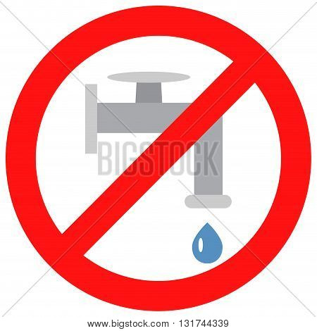 Sign close valve with water. Water pipe faucet drop and ban flow. Vector illustration