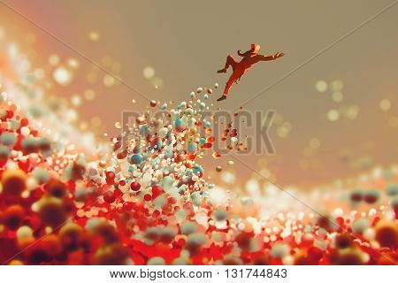 man jumping up from lot of colorful balls, illustration art