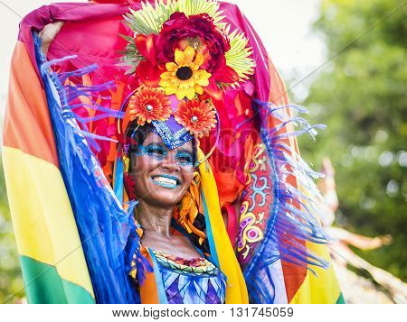 Rio de Janeiro, Brazil - February 9, 2016: Beautiful Brazilian woman of African descent wearing colourful costume during Rio Carnaval 2016 street parade, Rio de Janeiro, Brazil.