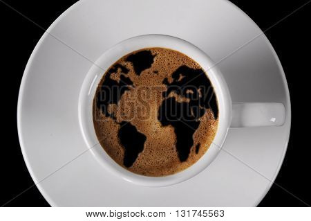 Cup of coffee with cream shaped world map