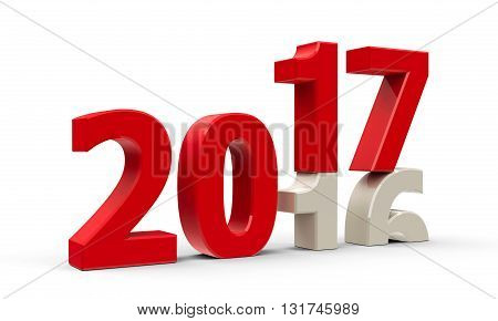 2016-2017 change represents the new year 2017 three-dimensional rendering 3D illustration