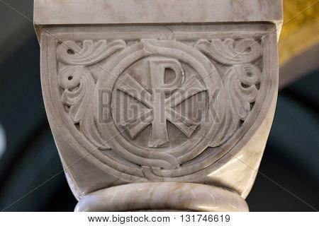 ZAGREB, CROATIA - JANUARY 31: Pax symbol on a pillar in the church of Saint Blaise in Zagreb, Croatia on January 31, 2015