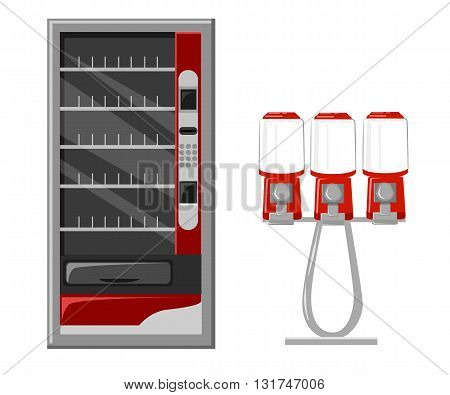 Vending machine vector Illustration flat Design Elements. Vector Gumball machine illustration