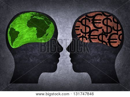 Two silhouettes of heads, a materialistic and other environmental