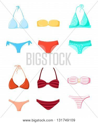 Bathing suit Swimming suits Summer vacation design elements vector Bikini silhouette set Beach time Different swimsuit