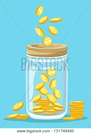 Money Jar. Saving dollar coin in jar. concept vector illustration Flat design style vector illustration. Saving money jar.