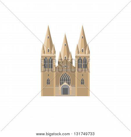 The Gothic facade of catholic Cathedral flat vector illustration. Catholic crunch icon. Gothic style religion landmark symbol.