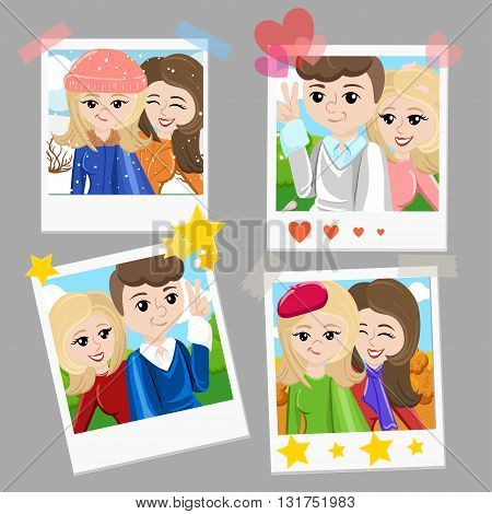 Photo frame stick for selfie. Monopod Selfie shots cartoon vector illustration.