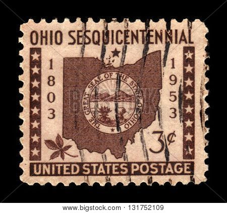 USA - CIRCA 1953: A stamp printed in USA shows Ohio Map, State Seal, Buckeye Leaf, Ohio Statehood 150th Anniversary, circa 1953