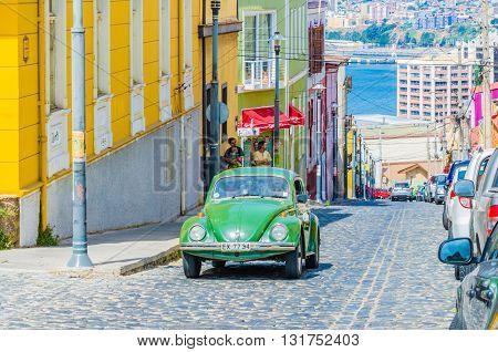 Valparaiso, Chile - November 01 2014: Antique Car Vintage In Street In The Center Of Valparaiso, Chi