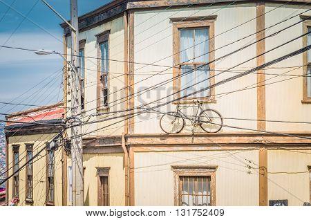 Valparaiso, Chile - November 01 2014:  Picturesque Facade Street In The Center Of Valparaiso, Chile