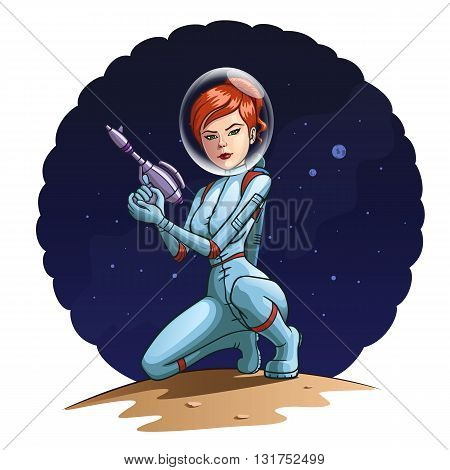 Illustration of a girl in a spacesuit with a blaster.