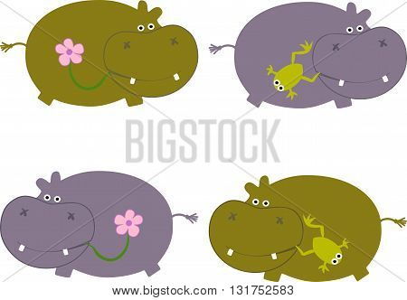 Drawing of a four cute behemoths in cartoon style in in gray and swamp color, with a frog and flower