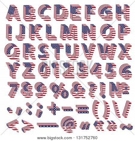 Full alphabet from 3d letters with American flag folded. Set of all letters with punctuation marks and special symbols. Correct standard colors.