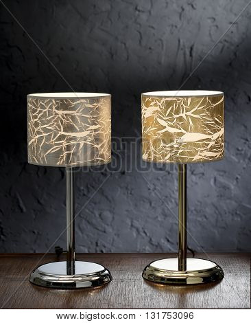 TABLE LIGHTS WITH GOLD AND SILVER CRACKLED SHADES  , ISOLATED