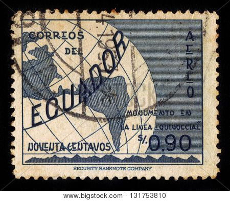 Ecuador - CIRCA 1953: A stamp printed in Ecuador shows globe with equator, Ecuador, inscription monument on the line equator, circa 1953;