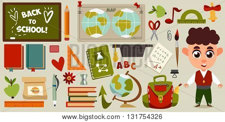 Set of objects and character in a flat design on education. Schoolgirl, backpack, it's time for school, ruler, books, apple, education. Cute children's illustration in a vector. Back to School.