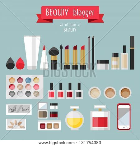 Flat lay woman's fashion, collection of cosmetics. Beauty blogger. Cosmetics in flat style. Pomade.