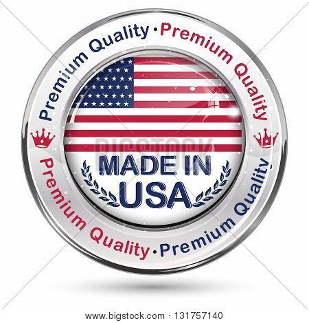 Made in USA, Premium Quality elegant button / label / stamp. Contains the map and the flag of the United States of America.