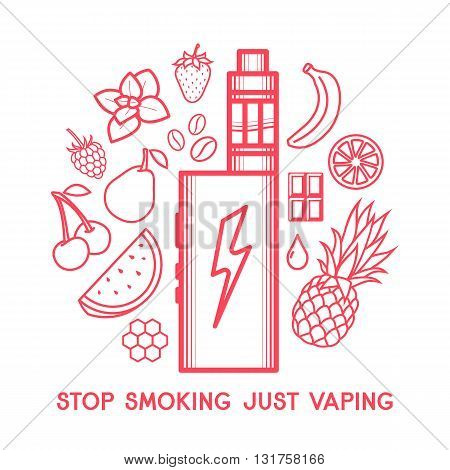 Set of vector icons for vape shop and vapor bar e-cigarette and e-liquid store isolated on on white background. Vector E-Liquid illustration of different flavor.