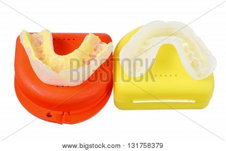 Plastic Mouth Guards on Isolated White Background