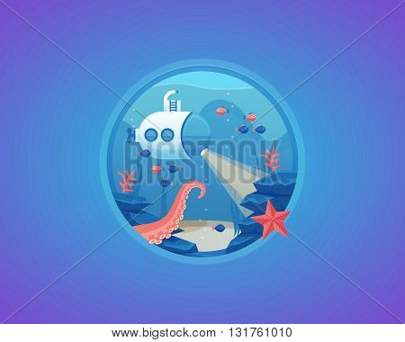 Deep water life exploration. Bottom of sea. Vector cartoon illustration.