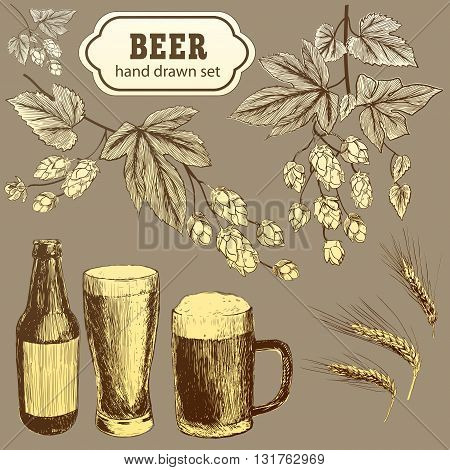 Vector set of vintage brewery elements. Retro collection with beer elements. Brewery signs. Beer icons set. Old brewery. Brewery sketch. Beer bar. Brewery background. Craft beer. Beer illustration.