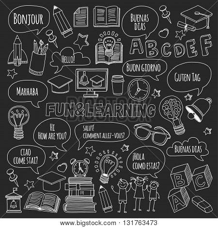 Language school doodle icons on blackboard Hand drawn images